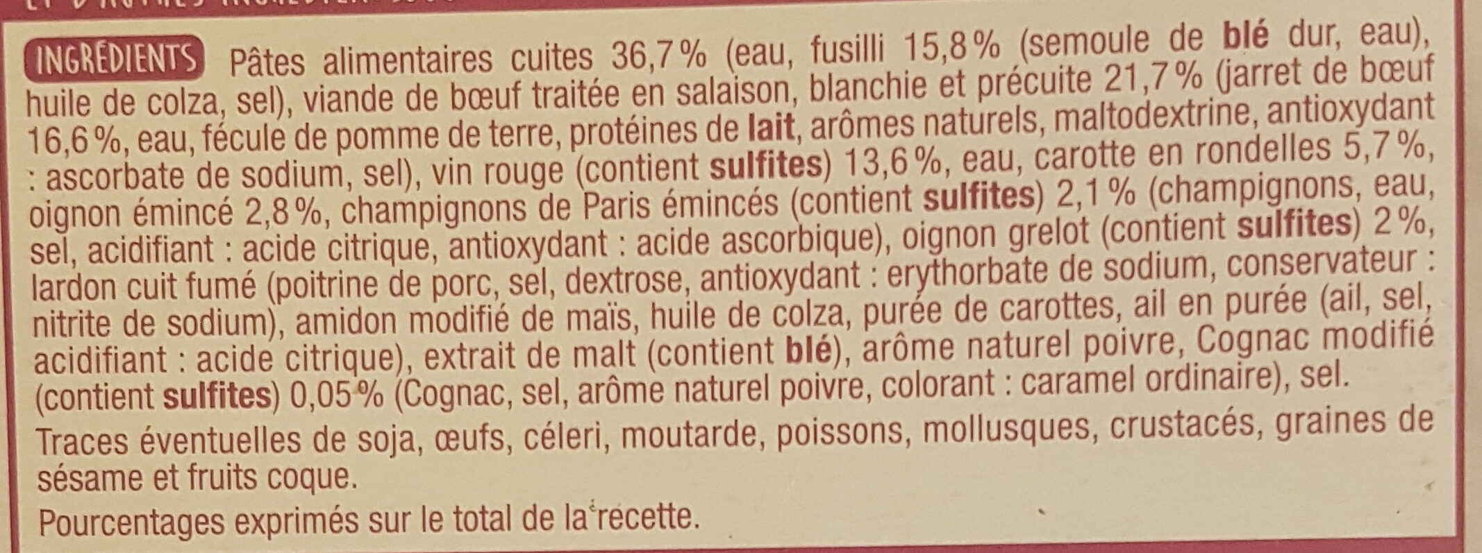 Bourguignon et ses pâtes - Ingrediënten - fr