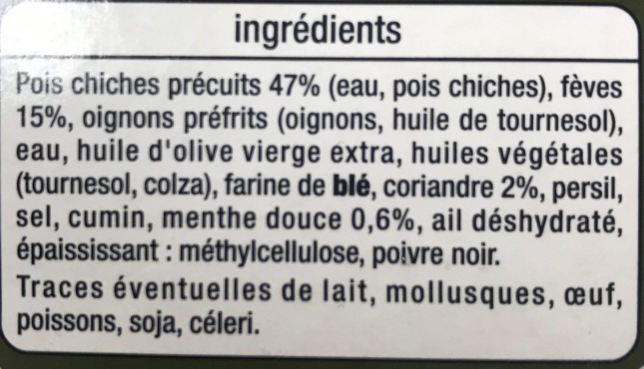 Les vegetariens Falafels fèves, coriandre et menthe - Ingredients - fr