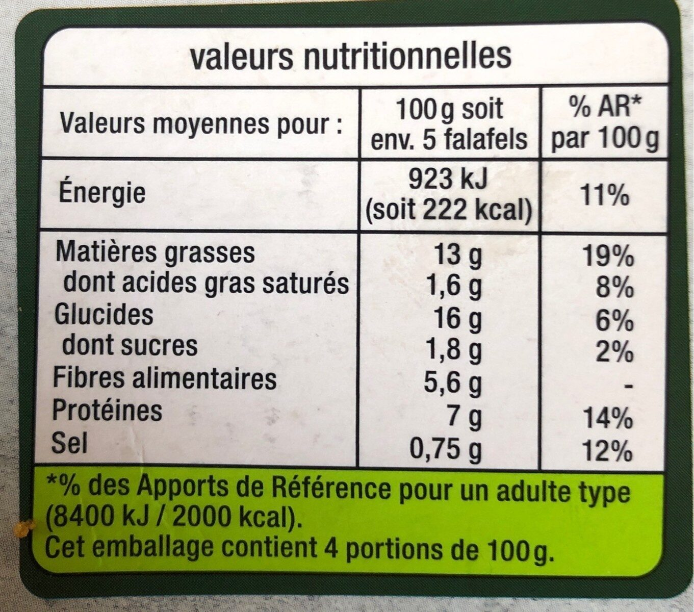 Les vegetariens Falafels fèves, coriandre et menthe - Nutrition facts - fr