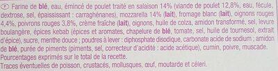 Pizza Kebab - Ingredients - fr