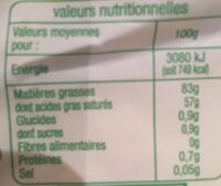 Beurre moulé doux bio - Valori nutrizionali - fr