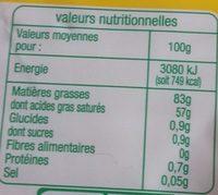 Beurre moule bio - Informations nutritionnelles