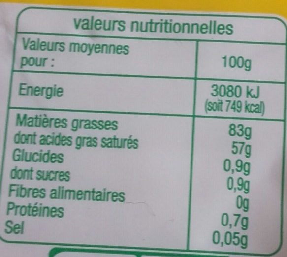 Beurre moule bio - Informations nutritionnelles - fr
