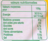 Beurre moulé demi-sel bio - Informations nutritionnelles - fr