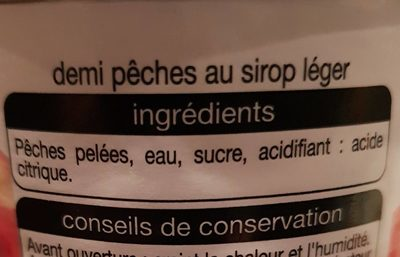 Pêches demi fruits au sirop léger - Ingredients