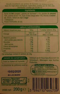 Crackers tournesol sésame et lin - Ingrediënten - fr