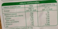 Crackers tournesol sésame et lin - Nutrition facts