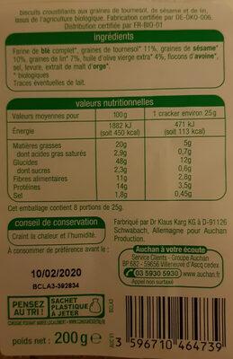 Crackers tournesol sésame et lin - Voedingswaarden - fr