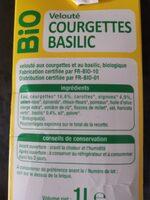 VELOUTÉ COURGETTES BASILIC BIO - Ingrédients - fr