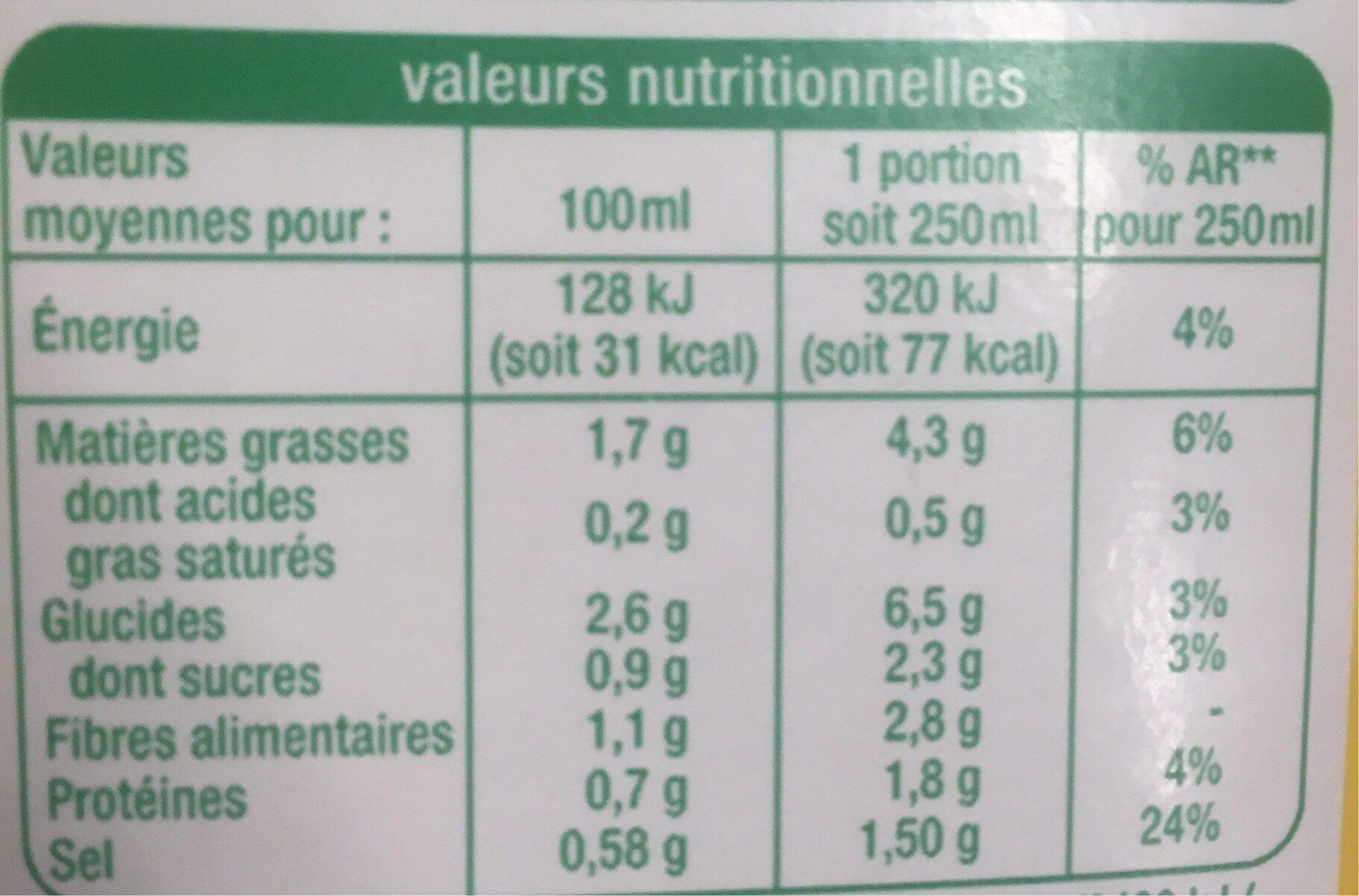 VELOUTÉ COURGETTES BASILIC BIO - Informations nutritionnelles - fr