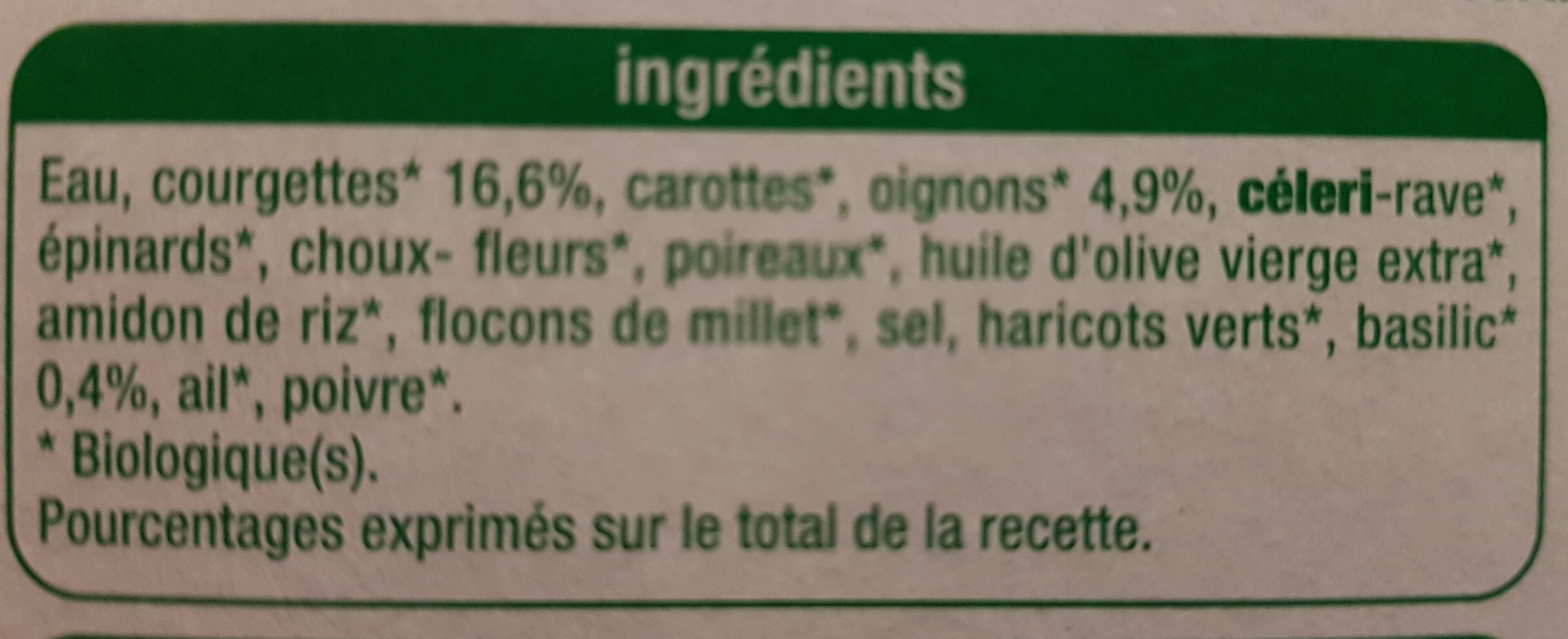 Velouté courgettes basilic - Ingrédients - fr