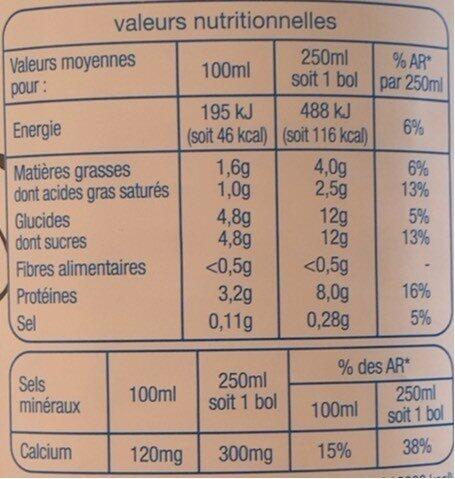 Lait demi écrémé - Informations nutritionnelles - fr