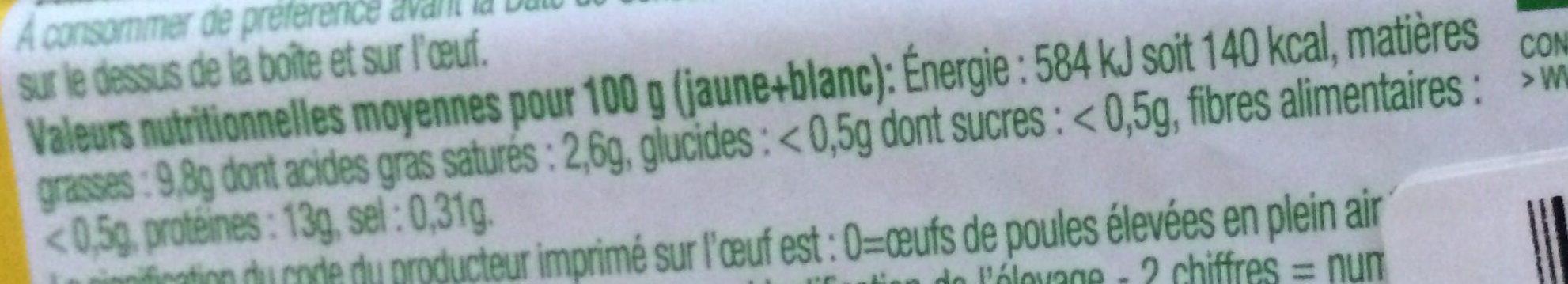 Oeufs Plein air Bio - Informations nutritionnelles - fr