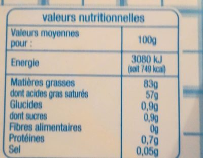 Beurre Moulé Doux - Nutrition facts