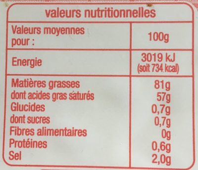 Beurre Moulé Demi-Sel - Nutrition facts