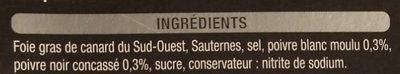 Foie Gras de Canard du Sud-Ouest 100 % morceaux aux poivres - Ingredients