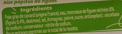 Spécialité de Bloc de Foie gras de canard aux pépites de figue - Ingrediënten