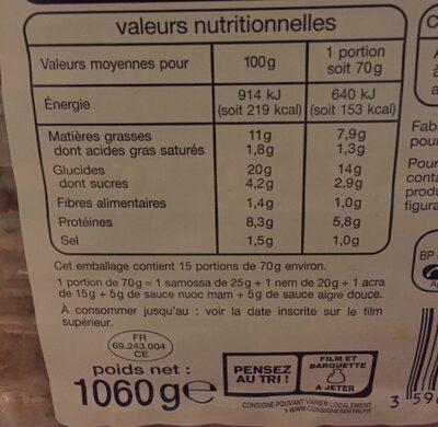 Assortiment exotique maxi plateau 45 pièces - Nutrition facts - fr