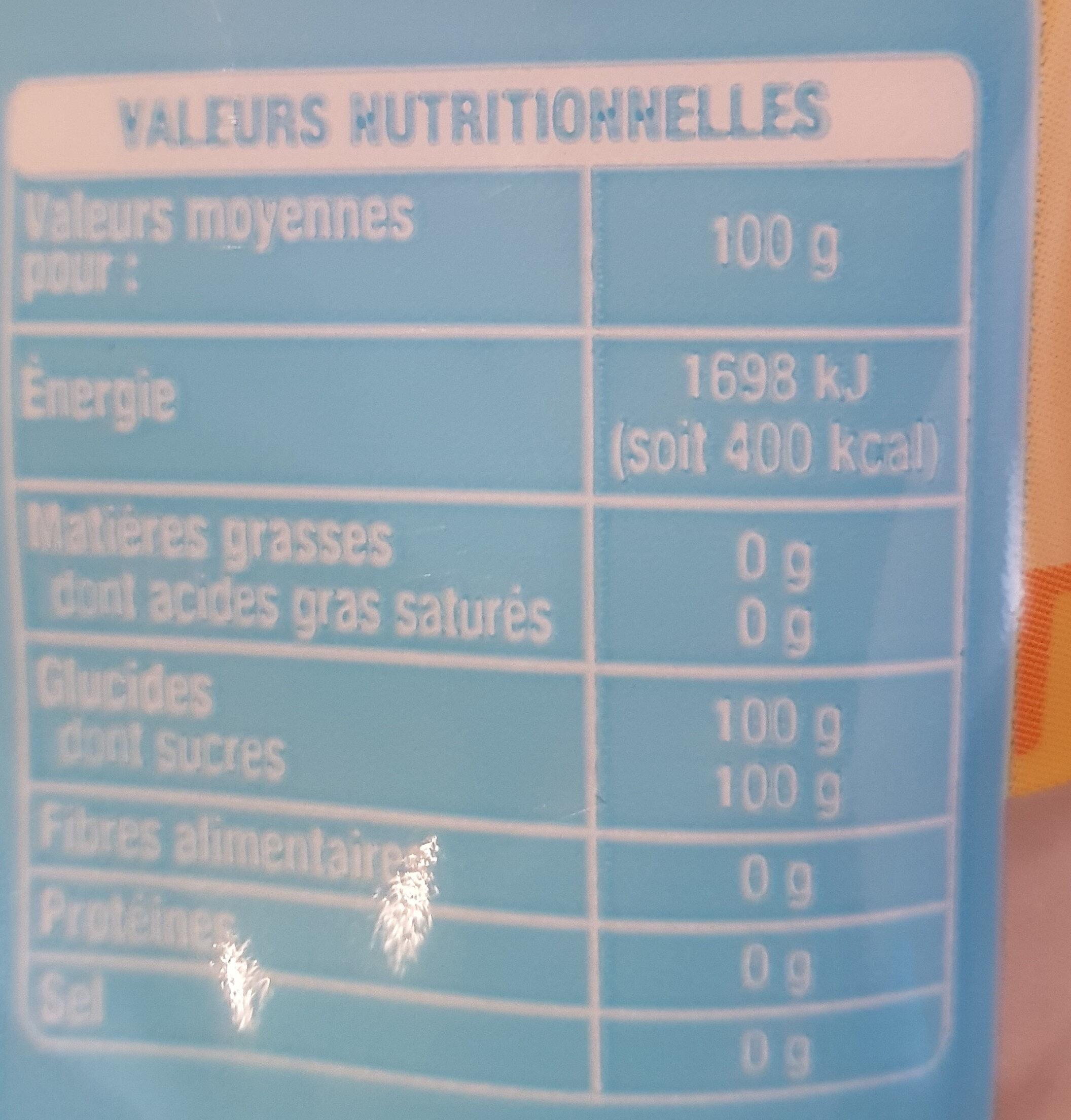 Cassonade - Sucre roux pure canne - Informations nutritionnelles - fr
