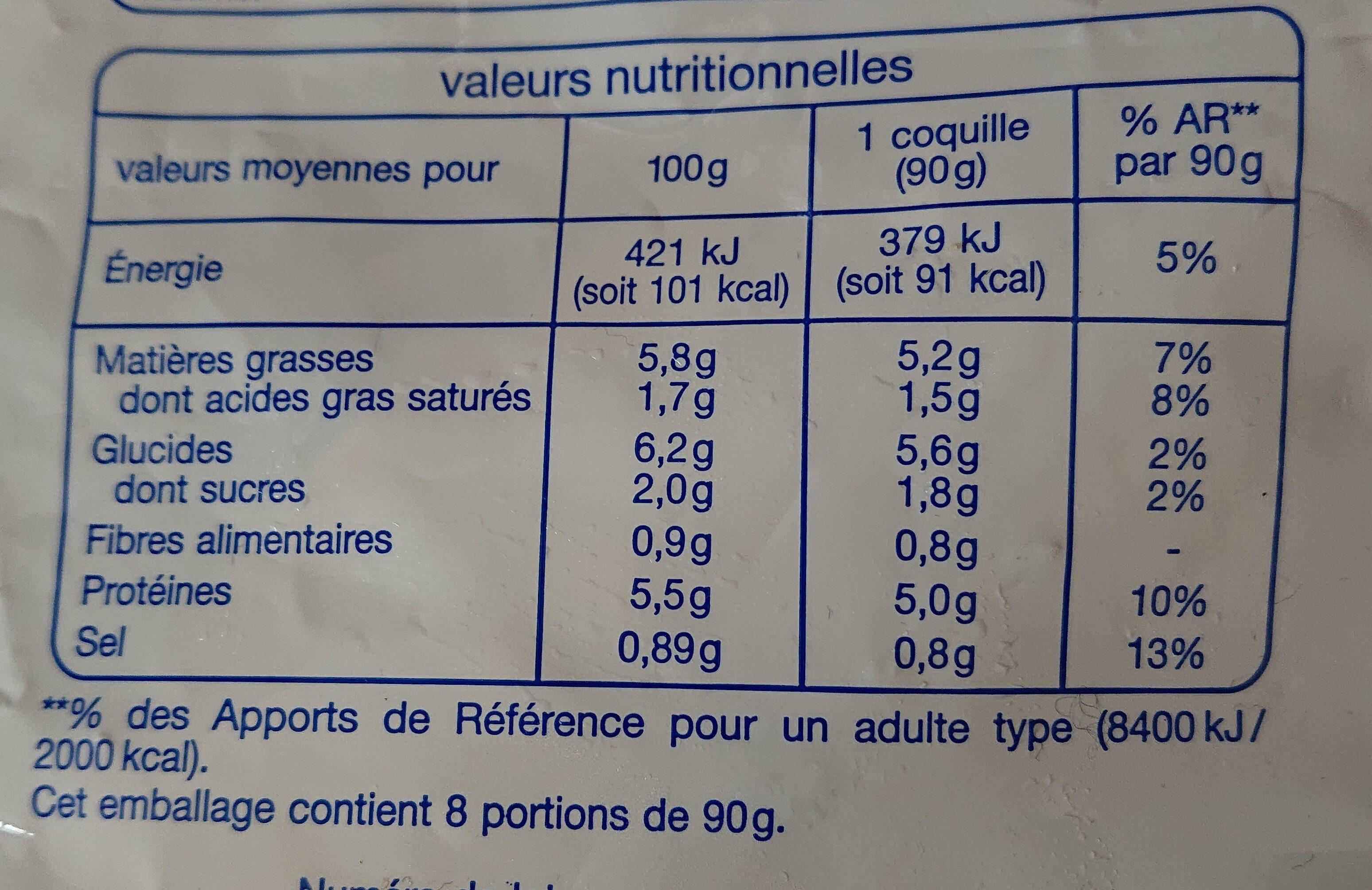 8 coquilles st-jacques cuisinés à la bretonne - Nutrition facts