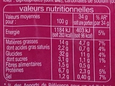 16 Blinis - Informations nutritionnelles - fr