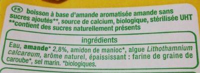 Boisson Amande Sans sucres ajoutés - Ingrediënten