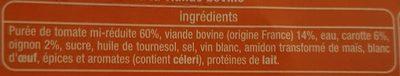 Sauce tomate à la viande de boeuf rôtie - Ingrédients