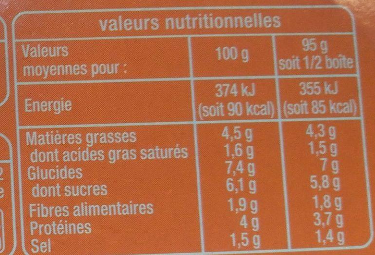 Sauce tomate à la viande de boeuf rôtie - Informations nutritionnelles