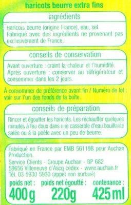 Haricots beurre extra fins - Ingrédients - fr