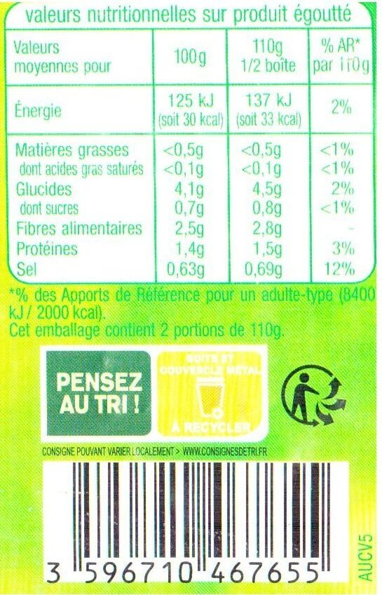Haricots beurre extra fins - Informations nutritionnelles - fr