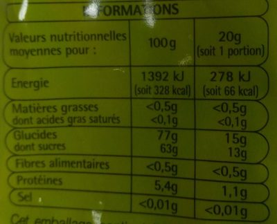 Frites citriques - Nutrition facts