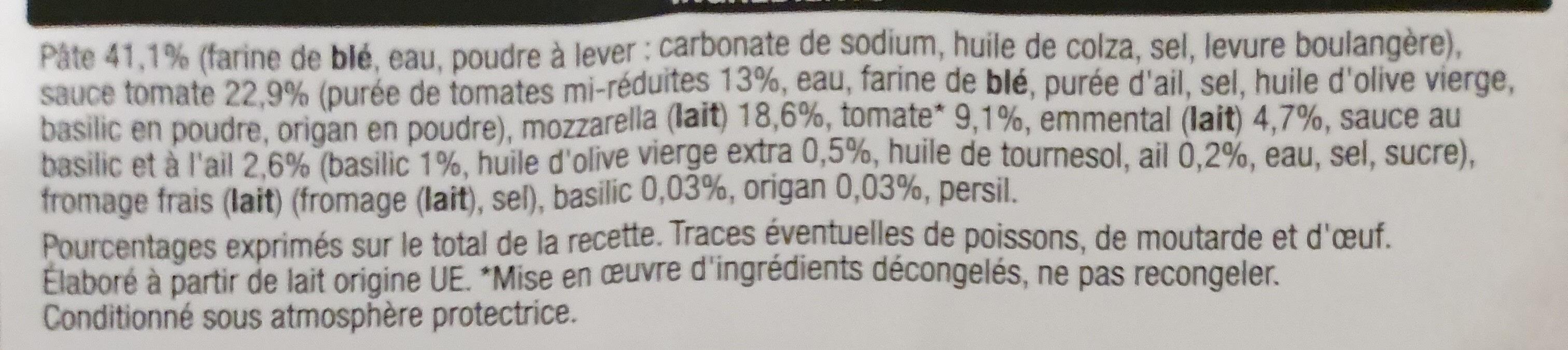 Marguerita pizza - Ingredients - en