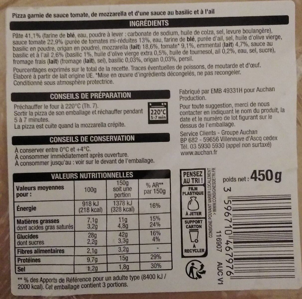 Marguerita pizza - Nutrition facts - fr