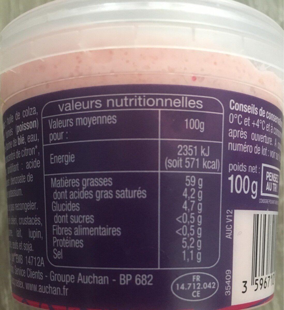 Tarama aux œufs de cabillaud - Informations nutritionnelles - fr