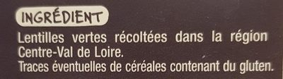 Lentilles vertes du Centre-Val de Loire - 成分 - fr