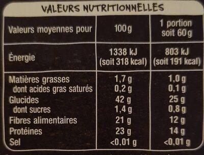 Lentilles vertes du Centre-Val de Loire - Nutrition facts - fr