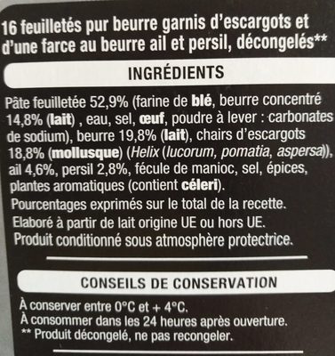 Feuilletés pur beurre escargot - Ingredients