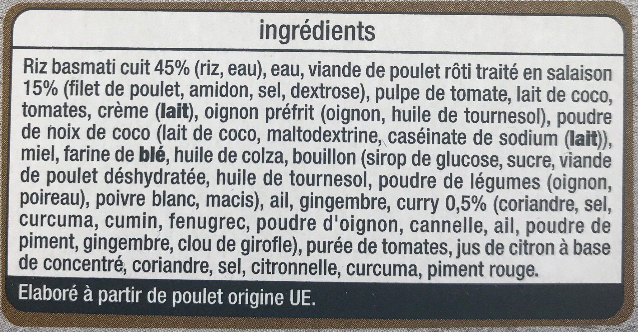POULET AU CURRY - Inhaltsstoffe - fr