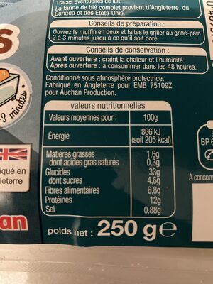 Muffins complet - Pain spécial - Voedingswaarden - fr