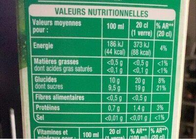 100% pur jus Orange sans pulpe - Valori nutrizionali - fr