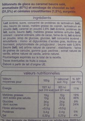 Glace caramel beurre salé - Ingrédients