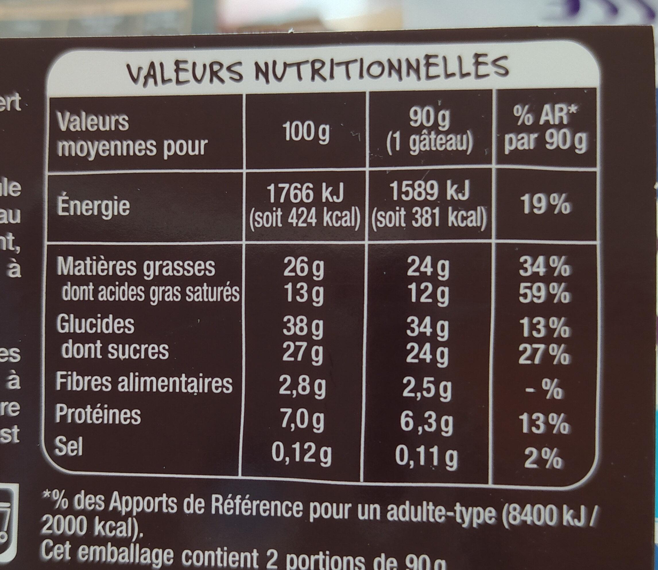 Fondant au chocolat x2 - Informations nutritionnelles - fr