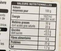 Tranchettes CHÈVRE Goût subtil - Valori nutrizionali - fr