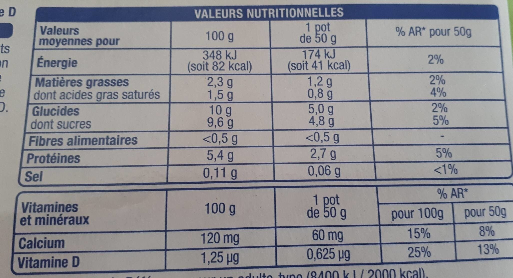 From'frais - Informations nutritionnelles - fr