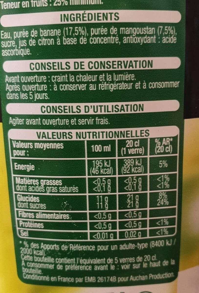 Jus Banane Mangoustan - Informations nutritionnelles - fr