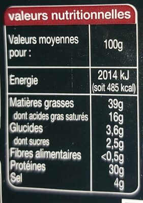 P'tits Chorizos fort - Nutrition facts - fr
