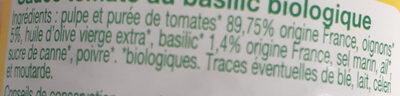 Sauce tomate basilic - Ingredienti - fr