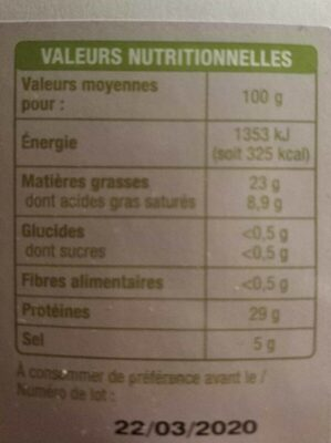 Speck - Nutrition facts - fr