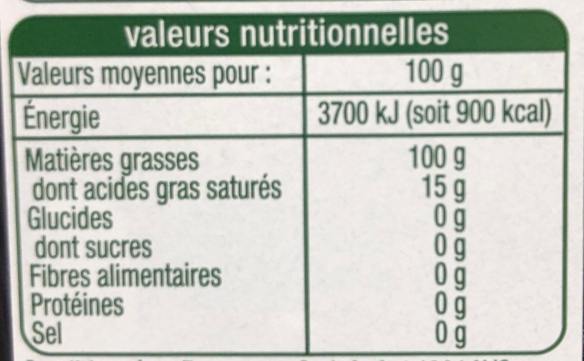 Huile d'olive vierge extra origine italie - Nutrition facts