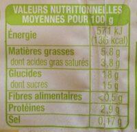 Liégeois café bio - Informations nutritionnelles